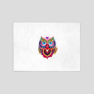 Owl face abstract 5'x7'Area Rug