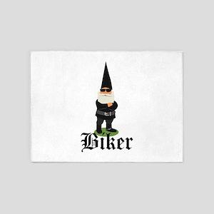 Gnome Biker 5'x7'Area Rug
