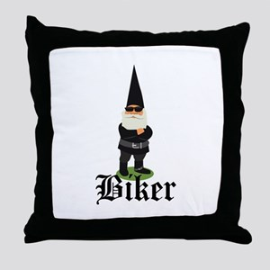 Gnome Biker Throw Pillow