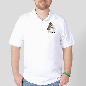 Hand drawn snowman Christmas background Golf Shirt