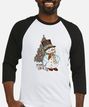 Hand drawn snowman Christmas backg Baseball Jersey