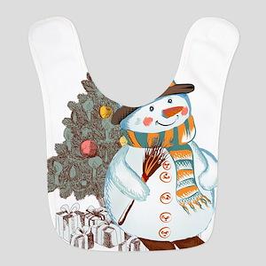 Hand drawn snowman Christmas background Bib