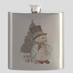 Hand drawn snowman Christmas background Flask