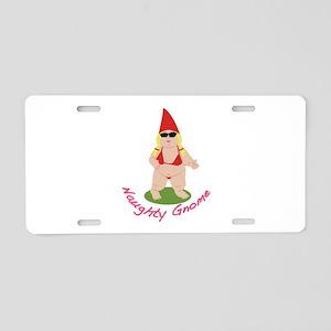 Naughty Gnome Aluminum License Plate