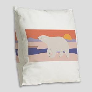 Polar Bear Burlap Throw Pillow