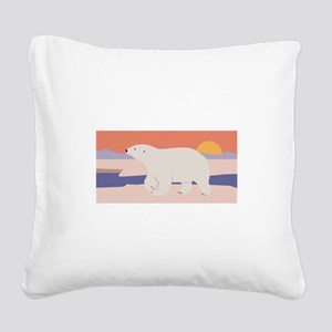 Polar Bear Square Canvas Pillow