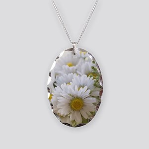 Bouquet of daisies in LOVE Necklace Oval Charm
