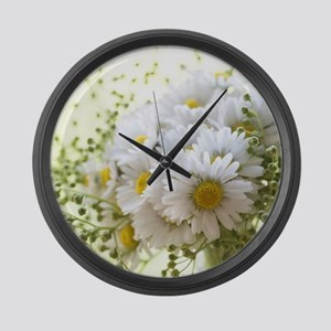 Bouquet of daisies in LOVE Large Wall Clock