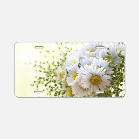 Bouquet of daisies in LOVE Aluminum License Plate