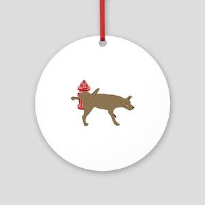 Peeing Dog Round Ornament