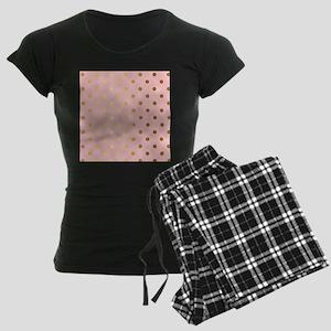 Golden dots on pink backroun Women's Dark Pajamas