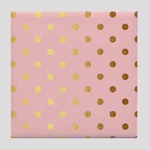 Golden dots on pink backround Tile Coaster
