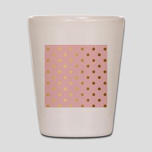Golden dots on pink backround Shot Glass