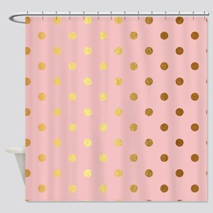 Golden dots on pink backround Shower Curtain