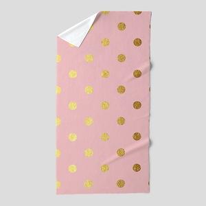 Golden dots on pink backround Beach Towel