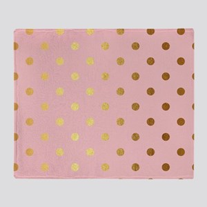 Golden dots on pink backround Throw Blanket