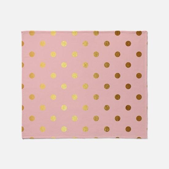 Golden dots on pink backround Throw Blanket