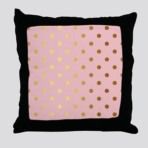 Golden dots on pink backround Throw Pillow