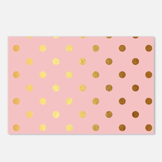 Golden dots on pink backr Postcards (Package of 8)