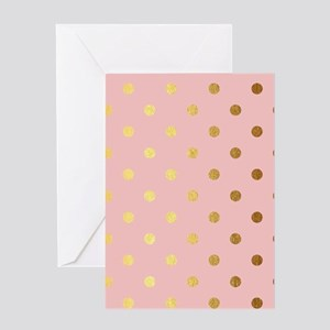 Golden dots on pink backround Greeting Cards