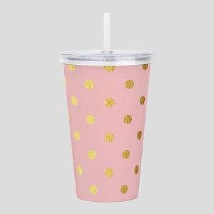 Golden dots on pink ba Acrylic Double-wall Tumbler