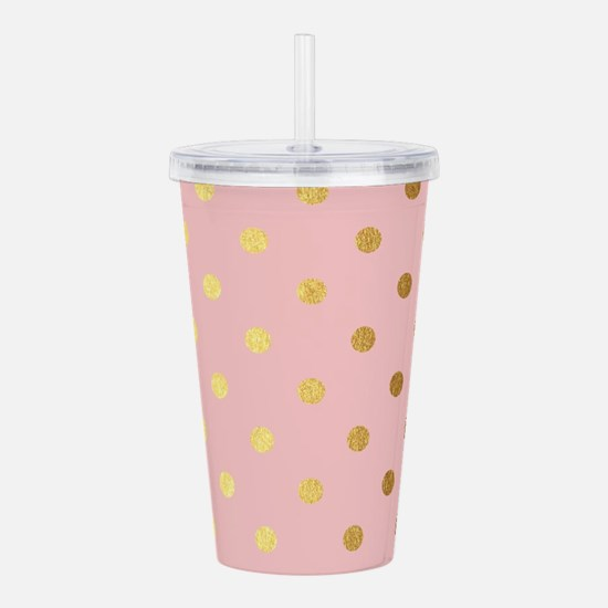 Golden dots on pink ba Acrylic Double-wall Tumbler