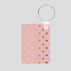 Golden dots on pink backround Keychains