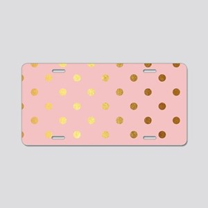Golden dots on pink backrou Aluminum License Plate