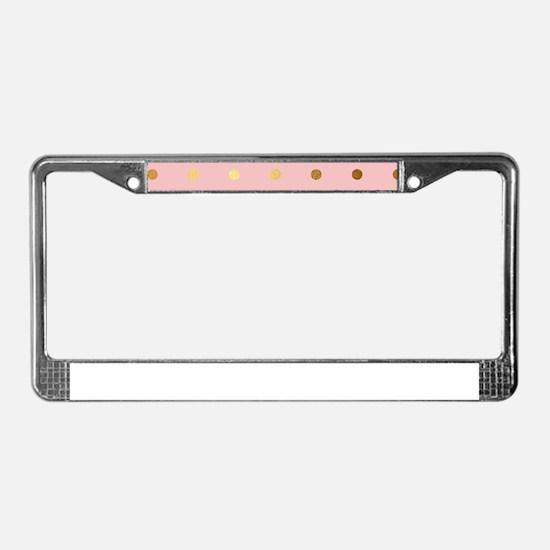 Golden dots on pink backround License Plate Frame