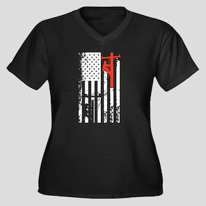 Lineman Flag Shirt Plus Size T-Shirt
