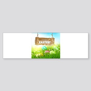 Colorful egg on grass happy Easter Bumper Sticker