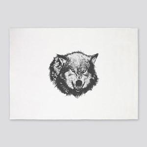 Angry animal wolf face 5'x7'Area Rug