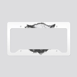 Angry animal wolf face License Plate Holder