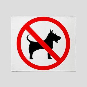 No dog sign Throw Blanket