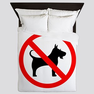 No dog sign Queen Duvet