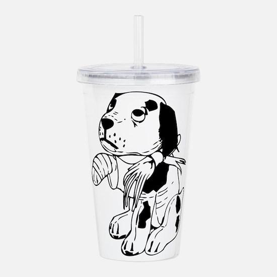 Sad dog with a broken Acrylic Double-wall Tumbler