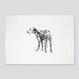 Hand drawn dogs Dalmatian dog back 5'x7'Area Rug