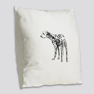 Hand drawn dogs Dalmatian dog Burlap Throw Pillow