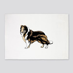 Brown and black collie 5'x7'Area Rug
