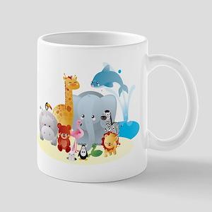 12 colorful zoo animals Mugs