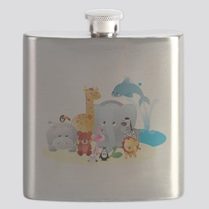 12 colorful zoo animals Flask
