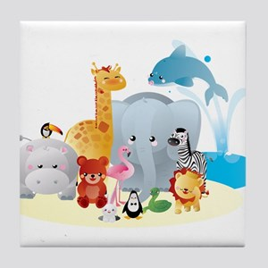 12 colorful zoo animals Tile Coaster