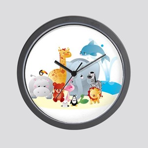 12 colorful zoo animals Wall Clock