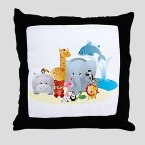 12 colorful zoo animals Throw Pillow