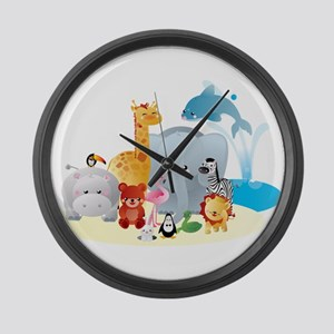 12 colorful zoo animals Large Wall Clock