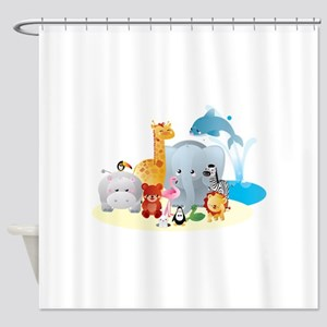 12 colorful zoo animals Shower Curtain