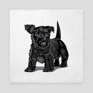 Cute black dog Queen Duvet