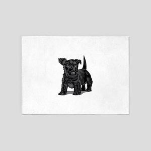 Cute black dog 5'x7'Area Rug