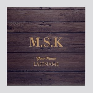 Rustic Barn Wood Personalized Tile Coaster