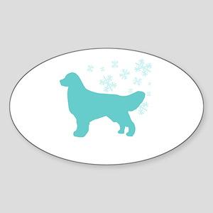 Golden Retriever Snowflake Oval Sticker
